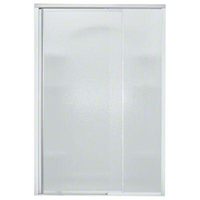 "Vista Pivot™ II Shower Door - Height 65-1/2"", Max. Opening 48"" - Silver with Rain Glass Texture"