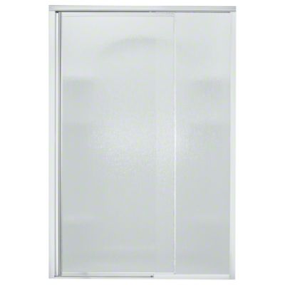 "Vista Pivot™ II Shower Door - Height 65-1/2"", Max. Opening 48"" - Silver with Rain Glass Texture"