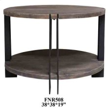Bengal Manor Iron and Acacia Wood Round Cocktail Table