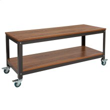 Livingston Collection TV Stand in Brown Oak Wood Grain Finish with Metal Wheels