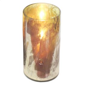 Oxidized green Tall Canister Candleholder