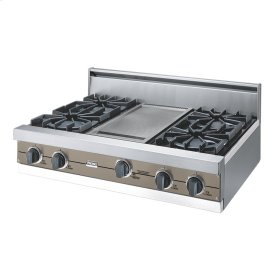 """Stone Gray 36"""" Open Burner Rangetop - VGRT (36"""" wide, four burners 12"""" wide griddle/simmer plate)"""