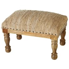Tall Beige Leather Chindi Stool (Each One Will Vary)