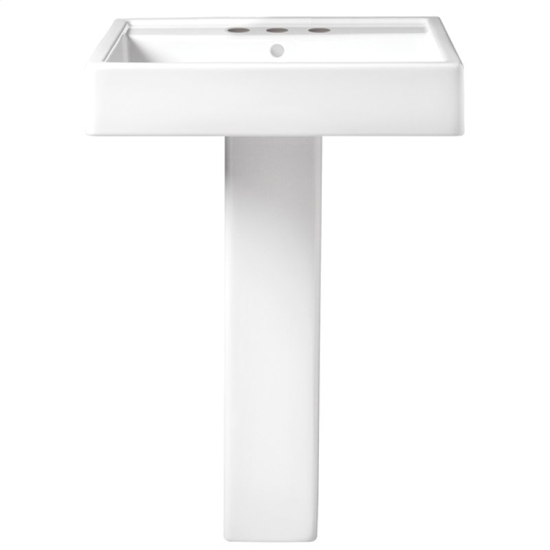 Cossu 24 Inch Pedestal Bathroom Sink 3 Faucet Holes Canvas White Hidden