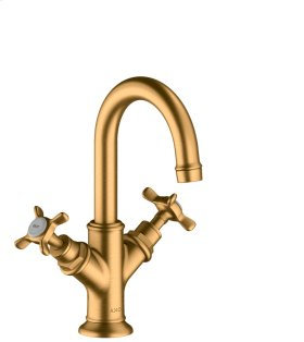 Brushed Gold Optic 2-handle basin mixer 160 with cross handles for hand washbasins with pop-up waste set