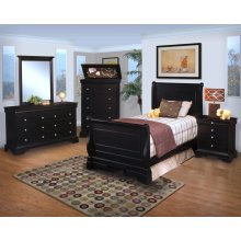 Belle Rose 3/3 T Sleigh Bed - Youth 6 Drawer Dresser