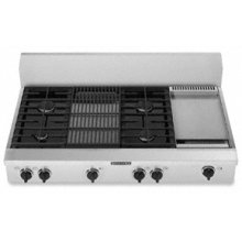 """4 Burners Griddle & Grille Porcelain-on-Steel Cooktop Architect® Series Gas 48"""" Width(Stainless Steel)"""