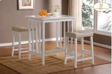3-Piece Pack Counter Height Set, White Finish