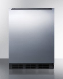 Built-in Undercounter All-refrigerator for General Purpose Use W/automatic Defrost, Stainless Steel Wrapped Door, Horizontal Handle, and Black Cabinet