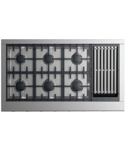 "Gas Rangetop 48"" 6 burners with grill"