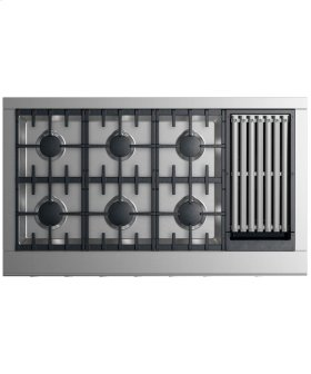"Gas Cooktop 48"" 6 burners with grill"