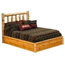 Traditional Log Platform Bed Cal King, Natural Cedar