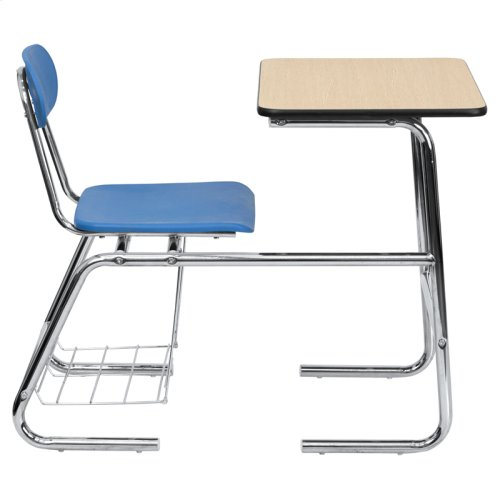 HERCULES Series Student Combo Desk with Blue Chair, Natural Laminate Top and Book Rack