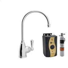Polished Chrome Perrin & Rowe® Traditional C-Spout Hot Water Faucet, Tank And Filter Kit