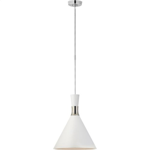 Visual Comfort S5641PN-WHT Studio VC Liam 1 Light 15 inch Polished Nickel Pendant Ceiling Light, Medium Conical