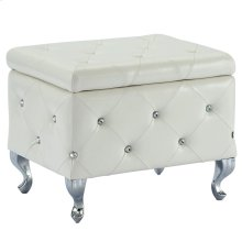 Monique Square Storage Ottoman in White