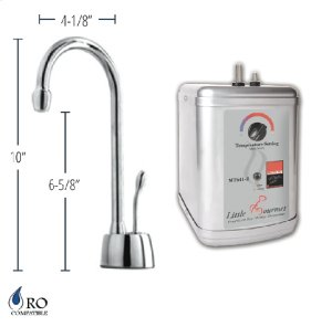 Hot Water Faucet with Contemporary Body & Single Tilt Lever & Little Gourmet® Premium Hot Water Tank - Pewter
