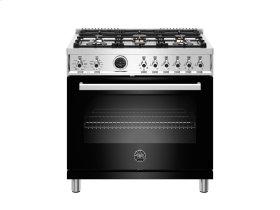 36 inch Dual Fuel Range, 6 Brass Burner, Electric Self-Clean Oven Black