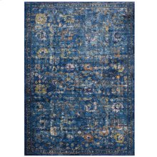 Minu Distressed Floral Lattice 5x8 Area Rug in Dark Blue, Yellow and Orange