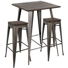 Oregon Pub Set - Antique Metal, Espresso Bamboo