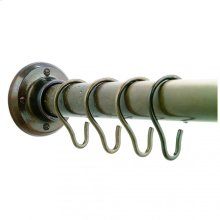 Shower Curtain Rod, Brackets, and Hooks Silicon Bronze Brushed