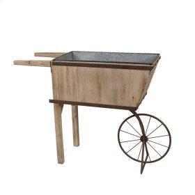 Tin & Wood Wheelbarrow Planter, Gray