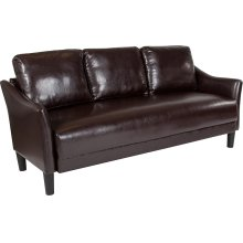 Asti Upholstered Living Room Sofa in Brown Leather
