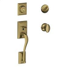 Addison Single Cylinder Handleset and Siena Knob - Bright Brass