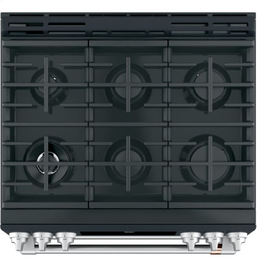 """Café 30"""" Slide-In Front Control Dual-Fuel Double Oven with Convection Range"""