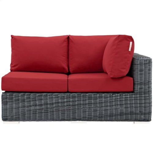 Summon Outdoor Patio Sunbrella® Right Arm Loveseat in Canvas Red