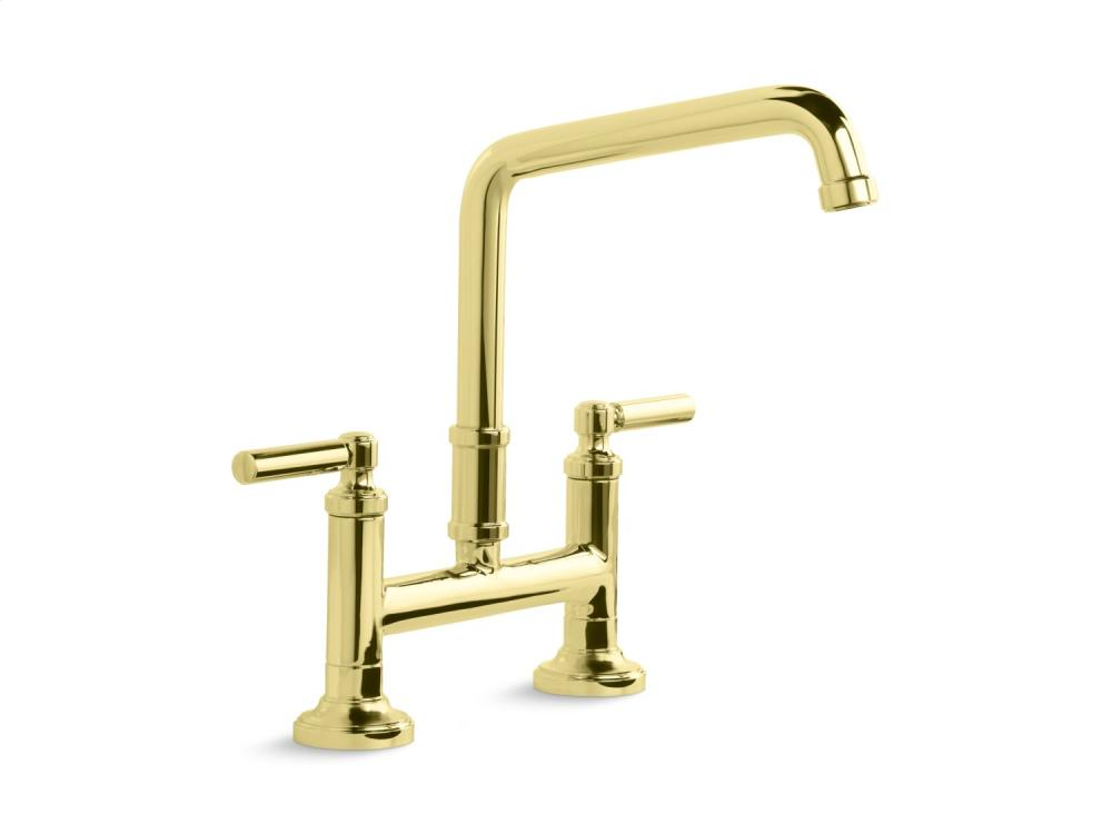Deck-Mount Bridge Faucet, Lever Handles - Unlacquered Brass