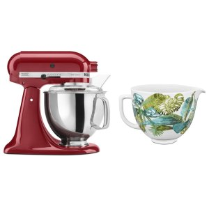KitchenaidExclusive Artisan® Series Stand Mixer & Patterned Ceramic Bowl Set - Empire Red