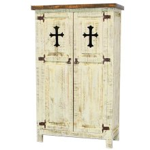 White 2 Door Cabinet W/Cross