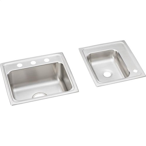 """Elkay Lustertone Classic Stainless Steel 34"""" x 17"""" x 7-5/8"""", Double Bowl Drop-in Classroom Sink"""