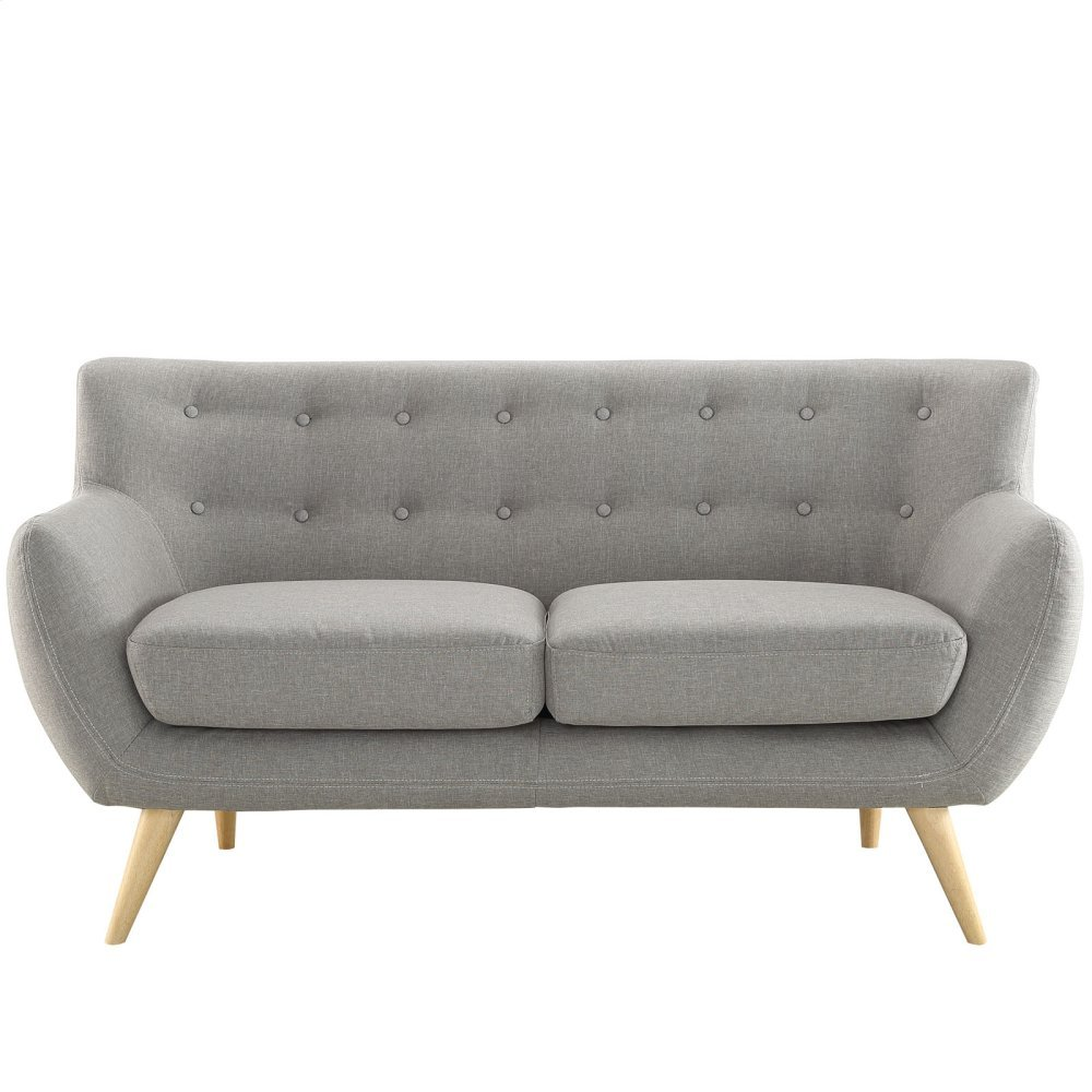 Remark Upholstered Fabric Loveseat in Light Gray