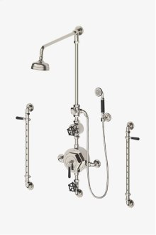 """Regulator Exposed Thermostatic Shower System with 6"""" Shower Rose, Handshower on Hook and Body Spray Bars, Black Lever and Wheel Handles STYLE: RGXS50"""