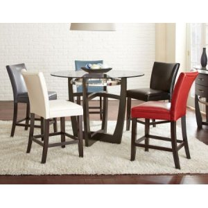 Steve Silver Co.Matinee Counter 5 Piece Set (Glass Counter Top Table & 4 Counter Chairs)