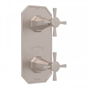 """Satin Nickel Perrin & Rowe Deco 1/2"""" Thermostatic/Diverter Control Trim with Deco Cross Handle"""