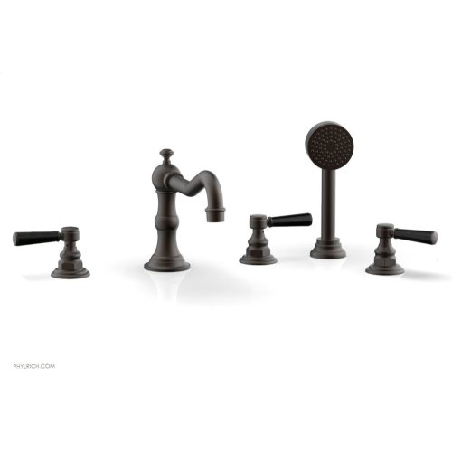 HENRI Deck Tub Set with Hand Shower with Marble Handles 161-50 - Oil Rubbed Bronze