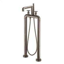 UNION Floor-mount Tub Filler with Round Handles - Brushed Black Chrome