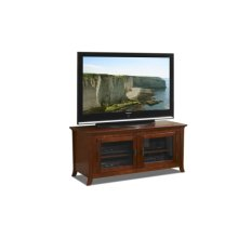 """50"""" Wide Credenza, Solid Wood and Veneer In A Walnut Finish, Accommodates Most 55"""" and Smaller Flat Panels - No Tools Required"""