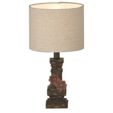 Distressed Lamp with Metal Flowers. 60W Max