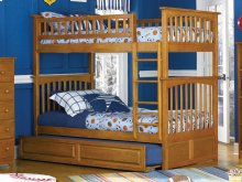 Columbia Bunk Bed Twin over Twin with Raised Panel Trundle Bed in Caramel Latte