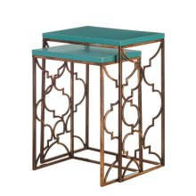 Turquoise and Antique Gold Nesting Table set/2.