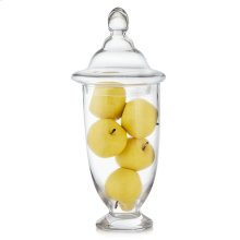 Yellow Apples In Tall Glass Apothecary Jar