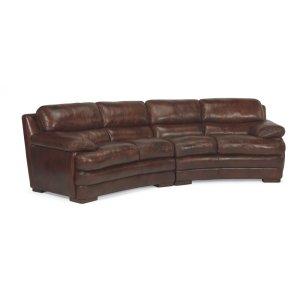 FLEXSTEELHOMEDylan Leather Conversation Sofa without Nailhead Trim