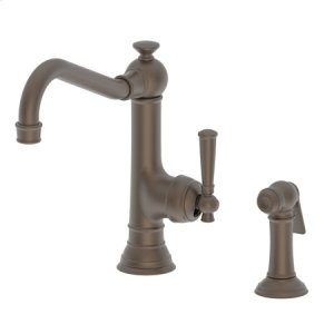 English Bronze Single Handle Kitchen Faucet with Side Spray