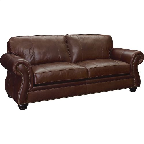 BROYHILL 5081-3Q Laramie Leather Sofa In Bark Finish