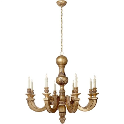 Visual Comfort AH5026WGL Alexa Hampton Dexter 8 Light 37 inch Weathered White and Gold Chandelier Ceiling Light