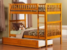 Woodland Bunk Bed Twin over Twin with Raised Panel Trundle Bed in Caramel Latte
